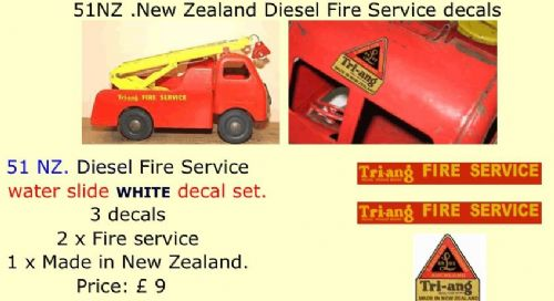 51NZ Tri-ang New Zealand Diesel Fire Service decals